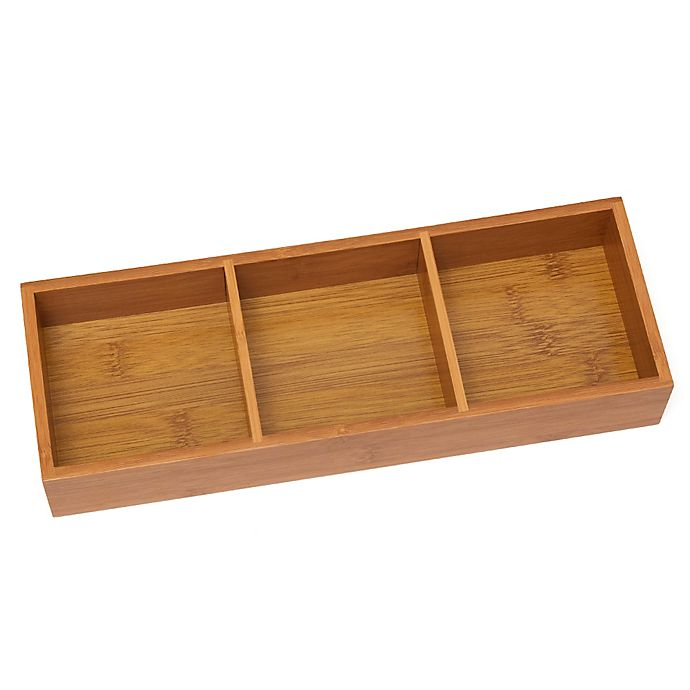 Alternate image 1 for Lipper International 3-Compartment Bamboo Tray