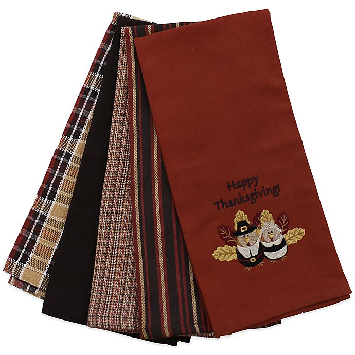 """Microfiber Towels Bed Bath And Beyond: """"Happy Thanksgiving"""" Kitchen Towels (Set Of 5)"""
