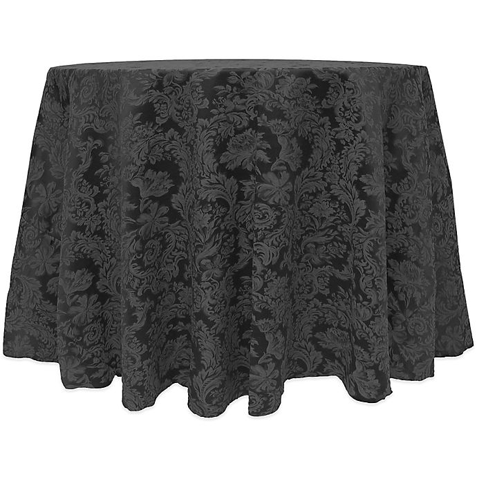 Alternate image 1 for Miranda Damask 90-Inch Round Tablecloth in Black