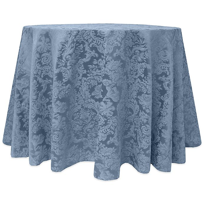 Alternate image 1 for Miranda Damask 90-Inch Round Tablecloth in Slate Blue