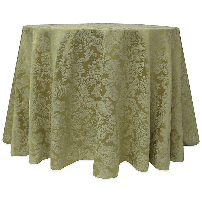 Alternate image 1 for Miranda Damask 120-Inch Round Tablecloth in Sage