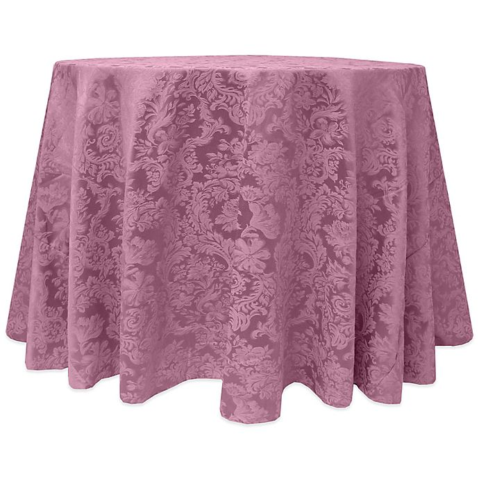 Alternate image 1 for Miranda Damask 120-Inch Round Tablecloth in Pink
