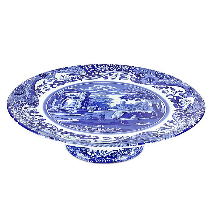 Alternate image 1 for Spode® Blue Italian Footed Cake Plate