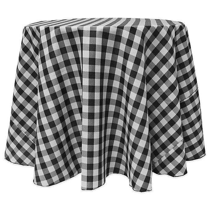 Buy Gingham Poly Check 90-Inch Round Tablecloth In Black