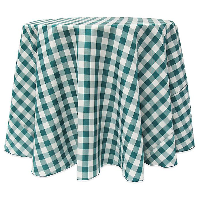 Alternate image 1 for Gingham Poly Check 90-Inch Round Tablecloth in Teal/White