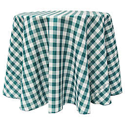 Gingham 90-Inch Round Tablecloth in Teal/White