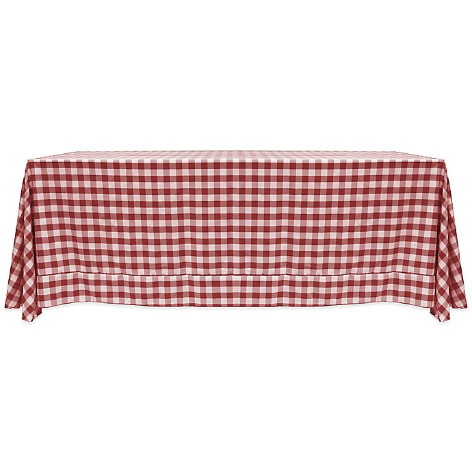 Alternate image 1 for Gingham Poly Check 72-Inch x 108-Inch Tablecloth in Burgundy/White