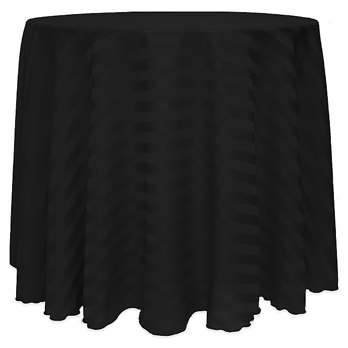 Alternate image 1 for Poly-Stripe 90-Inch Round Tablecloth in Black