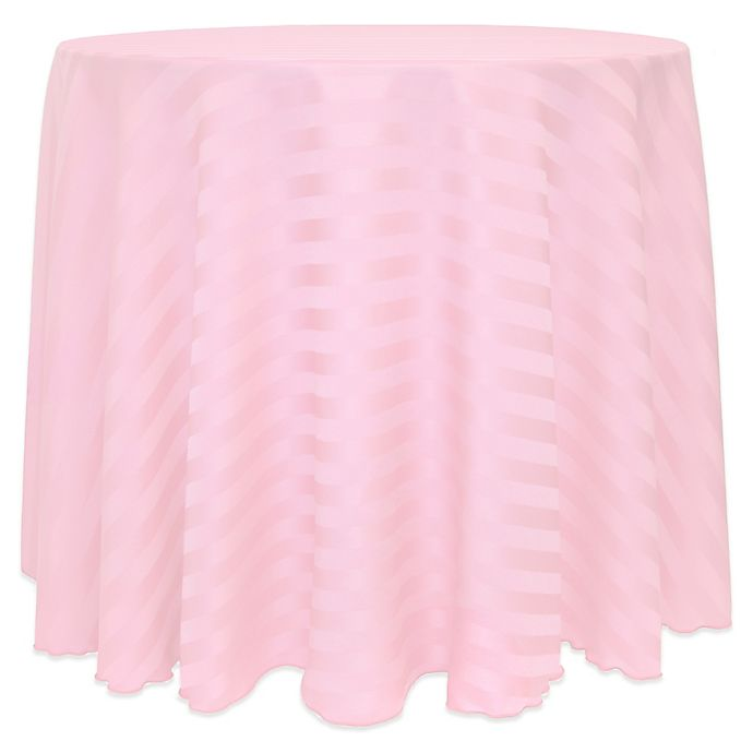 Alternate image 1 for Poly-Stripe 90-Inch Round Tablecloth in Light Pink