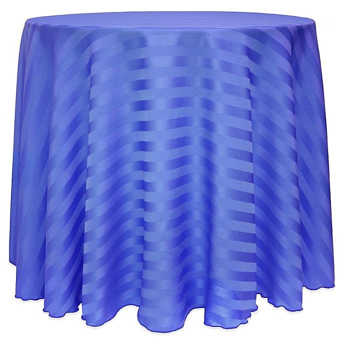 Alternate image 1 for Poly-Stripe 90-Inch Round Tablecloth in Periwinkle