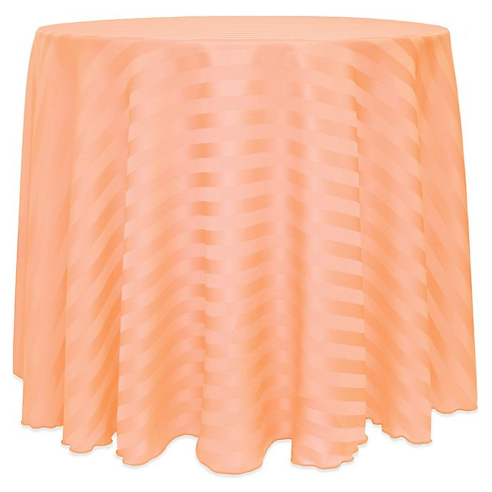 Alternate image 1 for Poly-Stripe 108-Inch Round Tablecloth in Peach