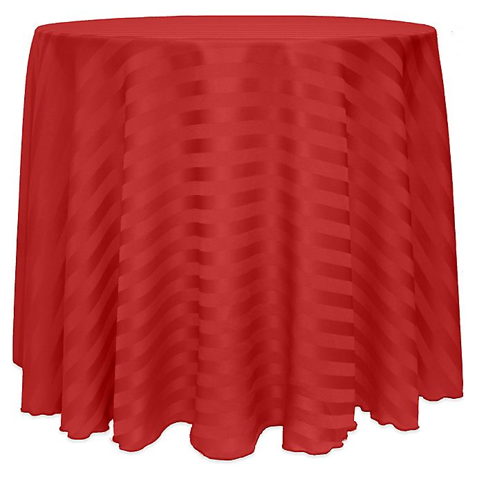 Alternate image 1 for Poly-Stripe 120-Inch Round Tablecloth in Red