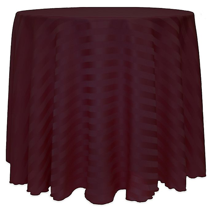 Alternate image 1 for Poly-Stripe 120-Inch Round Tablecloth in Burgundy