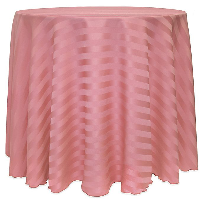 Alternate image 1 for Poly-Stripe 120-Inch Round Tablecloth in Dusty Rose