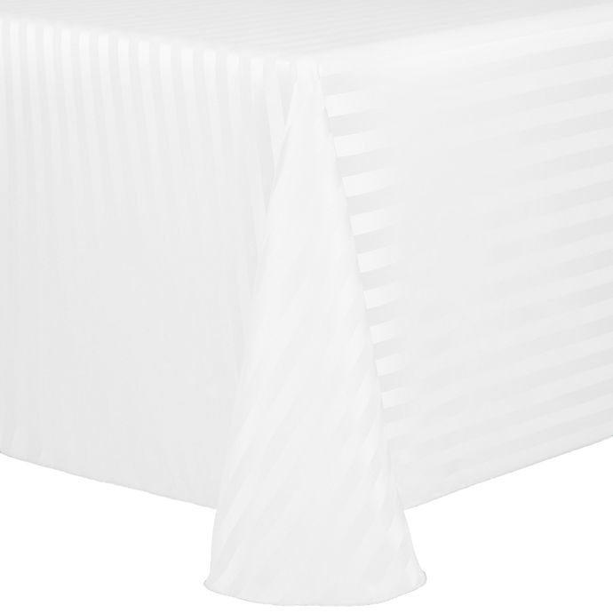 Alternate image 1 for Poly Stripe 60-Inch x 120-Inch Oblong Tablecloth in White