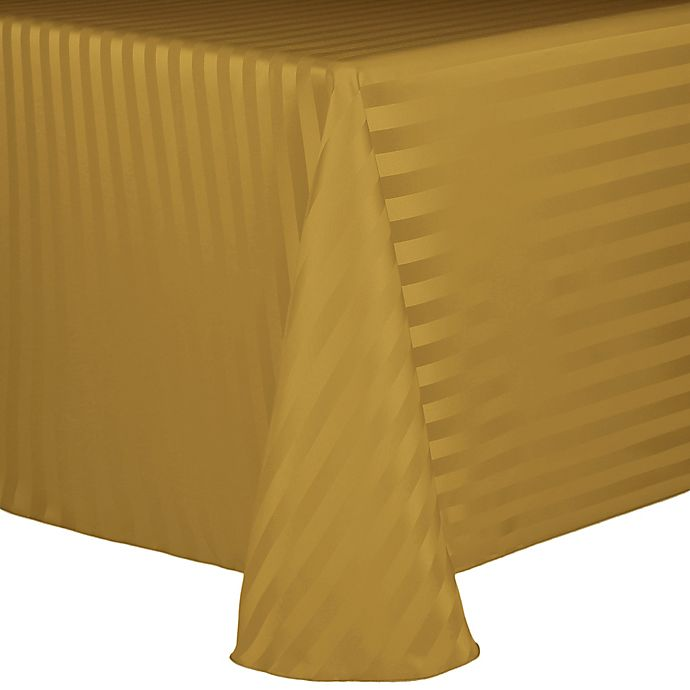 Alternate image 1 for Poly Stripe 60-Inch x 90-Inch Oblong Tablecloth in Gold