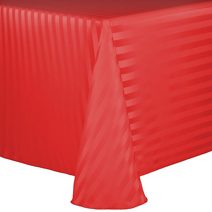 Alternate image 1 for Poly Stripe 60-Inch x 120-Inch Oblong Tablecloth in Red