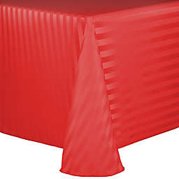 Ultimate Textile Poly Stripe 90-Inch x 156-Inch Oblong Tablecloth in Red