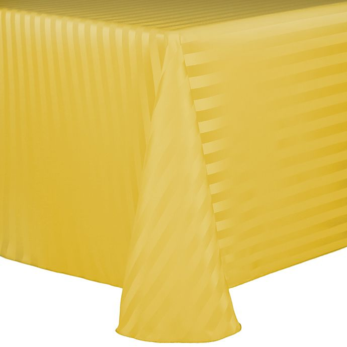 Alternate image 1 for Poly Stripe 60-Inch x 120-Inch Oblong Tablecloth in Goldenrod