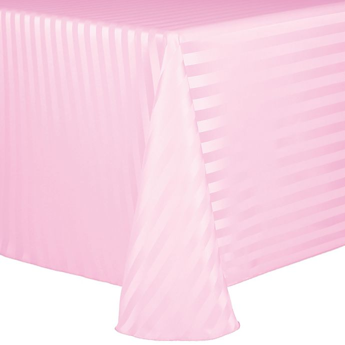 Alternate image 1 for Poly Stripe 60-Inch x 90-Inch Oblong Tablecloth in Light Pink