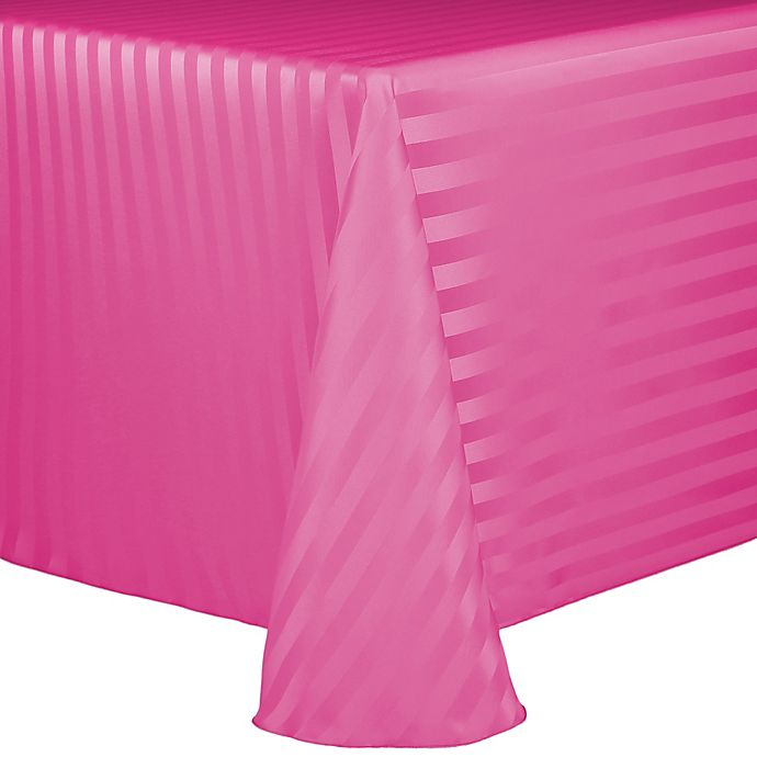 Alternate image 1 for Poly Stripe 60-Inch x 90-Inch Oblong Tablecloth in Raspberry
