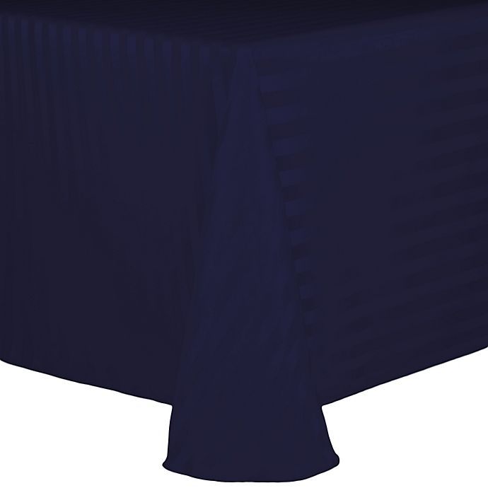 Alternate image 1 for Poly Stripe 60-Inch x 90-Inch Oblong Tablecloth in Navy