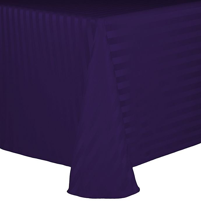 Alternate image 1 for Poly Stripe 60-Inch x 90-Inch Oblong Tablecloth in Purple