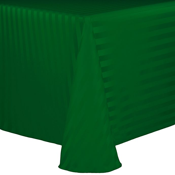 Alternate image 1 for Poly Stripe 60-Inch x 90-Inch Oblong Tablecloth in Emerald