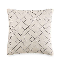Linen Modern Geometric Square Throw Pillow in Silver