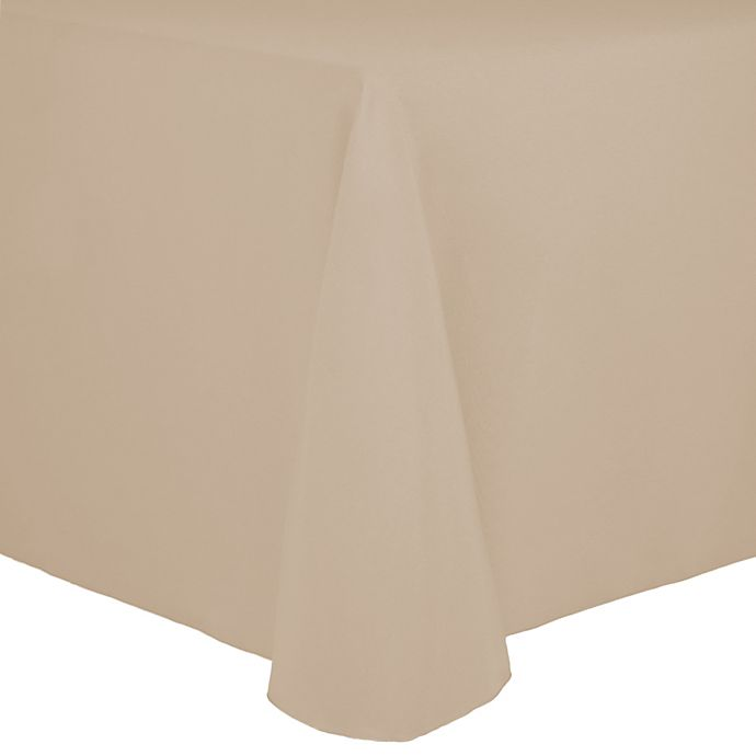 Alternate image 1 for Spun Polyester 90-Inch x 156-Inch Oblong Tablecloth in Tan