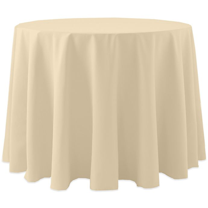 Alternate image 1 for Spun Polyester 120-Inch Round Tablecloth in Tan