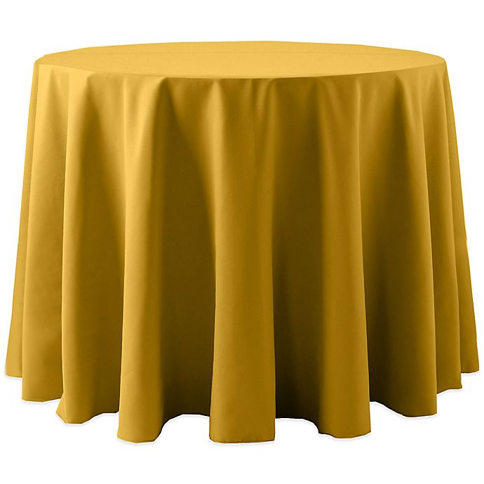 Alternate image 1 for Spun Polyester 120-Inch Round Tablecloth in Gold