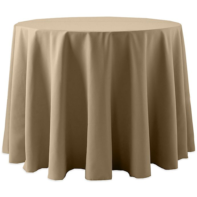 Alternate image 1 for Spun Polyester 120-Inch Round Tablecloth in Beige