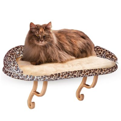 K Amp H Deluxe Kitty Sill With Bolster In Leopard Bed Bath