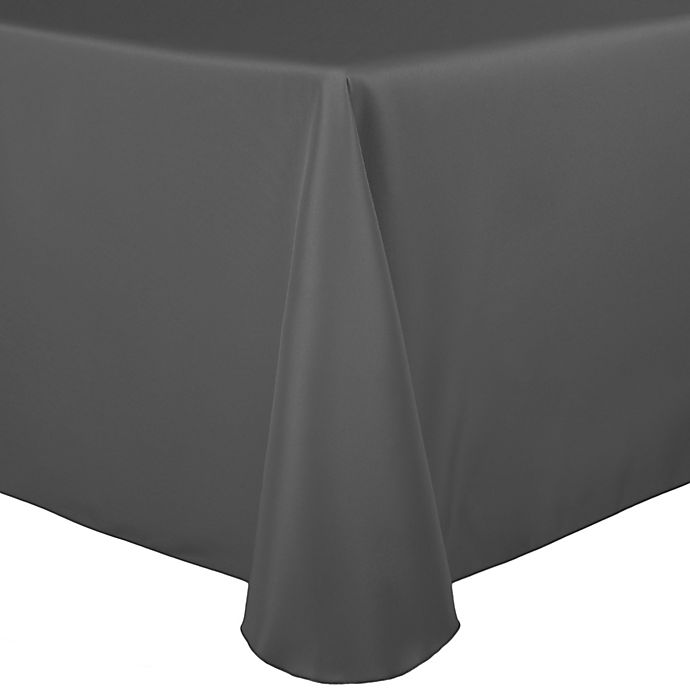 Alternate image 1 for Basic Polyester 90-Inch x 132-Inch Oblong Tablecloth in Charcoal