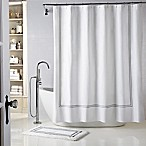 Wamsutta® Baratta Stitch 72-Inch x 72-Inch Shower Curtain in White/Charcoal