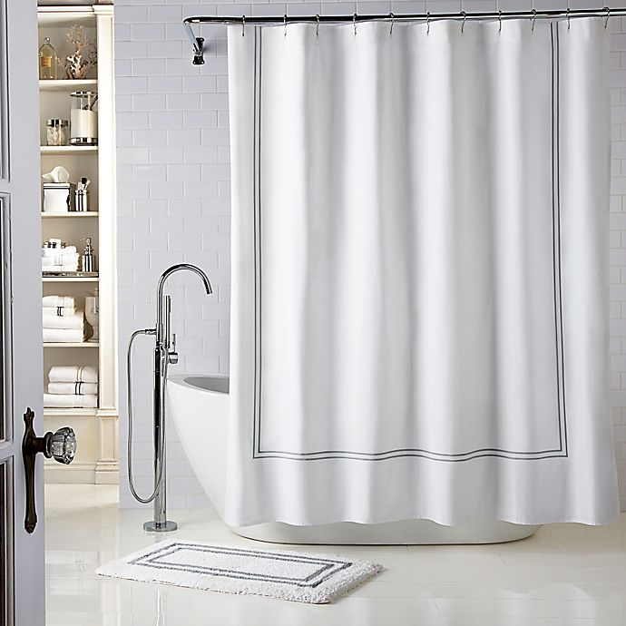 Alternate image 1 for Wamsutta® Baratta Stitch 72-Inch x 72-Inch Shower Curtain in White/Charcoal