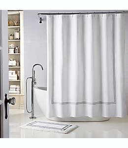 Cortina de baño Wamsutta® Baratta con bordado, 1.82 x 1.82 m en blanco/gris carbón