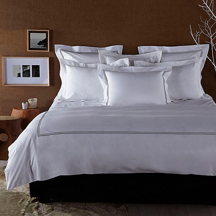 Alternate image 1 for Frette At Home Piave Duvet Cover in White/Grey