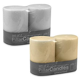 3-Inch x 4-Inch Unscented Pillar Candles (Set of 2)