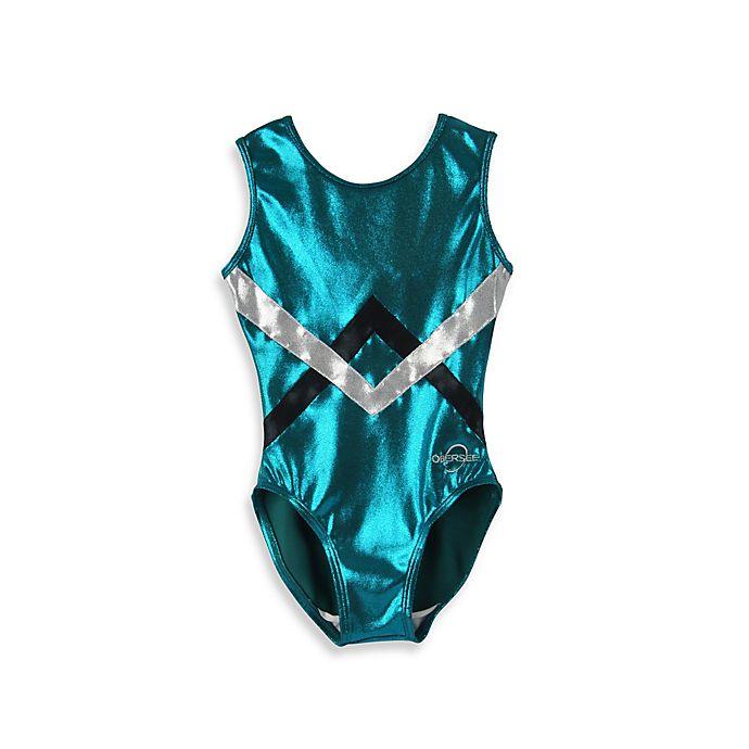 Alternate image 1 for Obersee Size XX-Small Kids Gymnastics Leotard in Green Chevron