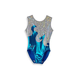 Obersee Kids Gymnastics Leotard in Turquoise Waves
