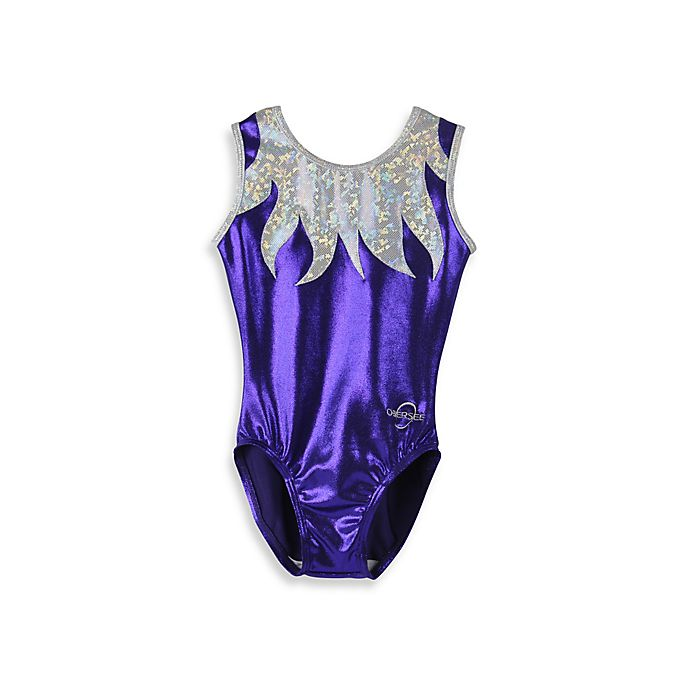 Alternate image 1 for Obersee Size XX-Small Kids Gymnastics Leotard in Purple Flames