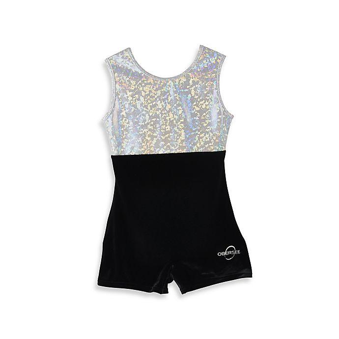 Alternate image 1 for Obersee Size Small Kids Gymnastics Biketard in Black Velvet