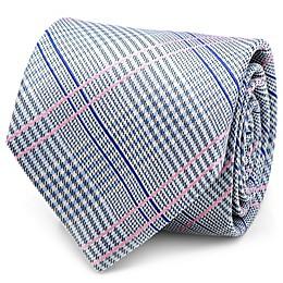 Silk Glen Plaid Tie in Blue/Pink