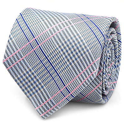 Silk Glen Plaid Tie in Blue/Pink