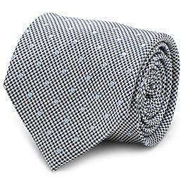 Silk Dotted Herringbone Tie in Grey