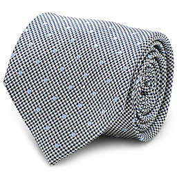 Silk Dotted Herringbone Tie in Grey
