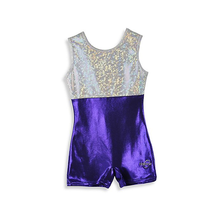 Alternate image 1 for Obersee Size XX-Small Kids Gymnastics Biketard in Purple