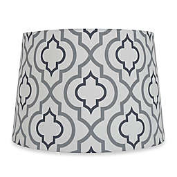 Mix Match Medium 13 Inch Two Tone Screen Printed Lamp Shade In Silver